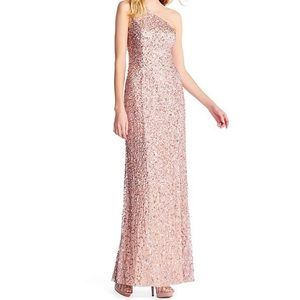 One-Shoulder Rose Gold Sequined Gown